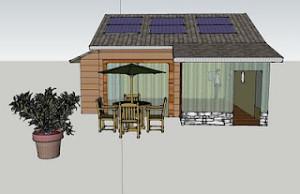 Passive solar cottage in former garage